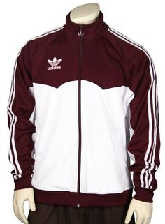 Adidas Men's Lightweight Track, Warmup Jacket, Maroon and White $34.95