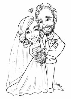 b&w wedding caricature