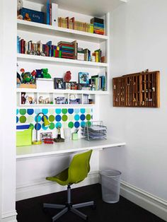 home office interior decorating with white book shelves