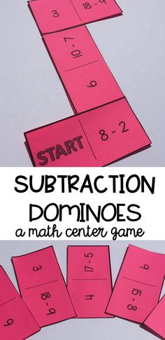 Subtraction dominoes are a fun and engaging way for students to practice their subtraction skills. Great for math centers, independent practice, group work, and cooperative learning.