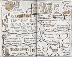 """Sketch notes from UXCB14 Session """"Can't see the wood for the trees: user needs and stories"""" Talk by @jwaterworth (Drawn by Makayla Lewis) 