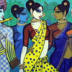 Buy sakhi (friends) painting online - the original artwork by artist Varsha Kharatmal, exclusively available at Mojarto only. Black Art Painting, Fabric Painting, Figure Painting, Painting & Drawing, Madhubani Art, Madhubani Painting, Indian Contemporary Art, Contemporary Paintings, Indian Folk Art