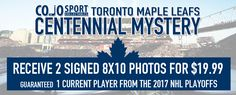 This is your chance to get a Toronto Maple Leafs Centennial Mystery Photo!  Each package includes 2 autographed Toronto Maple Leafs 8×10 photos.  One of those photos is guaranteed to be a current player from the 2017 NHL Playoffs – one of Mitch Marner, Frederik Andersen, James van Riemsdyk, Jake Gardiner, Leo Komarov, Nikita Zaitsev, Zach Hyman, Connor Brown, Matt Martin – ONE OF THESE PLAYERS!!!  https://cojohockey.com/product/toronto-maple-leafs-centennial-mystery/