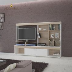 Μοντέρνας σχεδίασης Σύνθεση TV 200x40x141 με 1 ντουλάπι, ανοιγόμενο προς τα κάτω, και διαθέσιμο χώρο στο σημείο που τοποθετείται η τηλεόραση 100x72. Από την Alphab2b.gr Living Room, Furniture, Home Decor, Decoration Home, Room Decor, Home Living Room, Home Furnishings, Drawing Room, Lounge