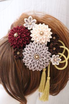 【ナチュラル】髪飾りセット ★ つまみ細工