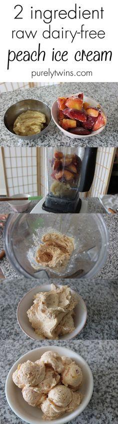 2 ingredient raw dairy-free peach ice cream