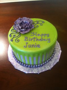 Purple and lime green birthday cake