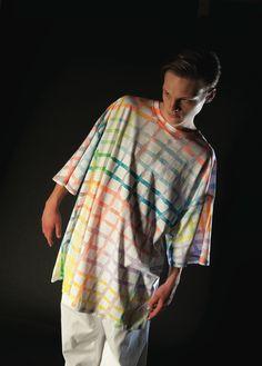 handpainted grid bigshirt