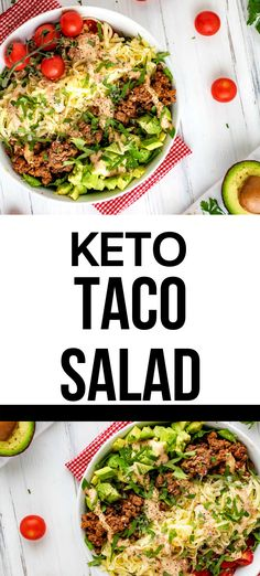 Easy Keto Taco Salad with Beef is the perfect low carb recipe for meal prep.  So good it is even great to take to a potluck.  This delicious one bowl meal is easy to make and so flavorful!  This simple recipe is one you will make again and again.  #kickingcarbs #ketotacosalad #tacosalad #keto #salad #lowcarb #mealprep Low Carb Taco Salad, Salad Recipes Low Carb, Taco Salads, Low Carb Tacos, Keto Recipes, Recipes For Beginners, Meals For The Week, Food Print, Meal Prep