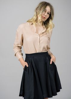 REFINED - Vida Black Pleated Skirt I Whyred