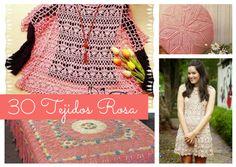 30 Tejidos Rosa a Crochet – Patrones para descargar:  https://ctejidas.co/30-tejidos-rosa-crochet-patrones-para/