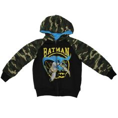 DC Comics Batman Character Toddler Hoodie Sweatshirt Jacket Size 3T Black & Camo Extremely high quality fabric: 60% Cotton, 40% Polyester; Machine washable.. 100% Authentic DC Comics merchandise, satisfaction guaranteed.. very high quality logo at front..  #DCComics #Apparel