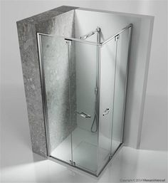 Frameless shower enclosure with folding door for corner shower trays.   Assembled to another RA element, it composes a corner shower enclosure that can be completely opened.   If necessary the door can be disassembled from the top rail and opened outward.