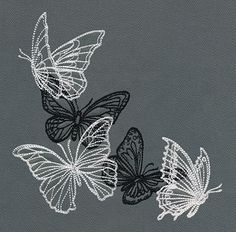 Flight & Dark Butterflies - Corner | Urban Threads: Unique and Awesome Embroidery Designs