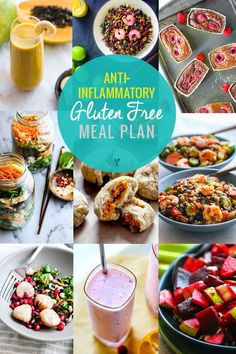 Food plays a key role in reducing inflammation! Here's an anti-inflammatory gluten-free meal plan full of recipes with healthy anti-inflammatory properties.