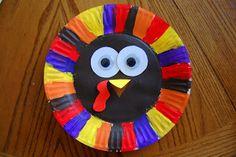 Preschool Crafts for Kids*: Thanksgiving Paper Plate Turkey Face Craft