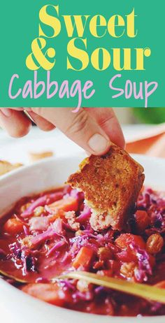 This red cabbage soup recipe is sweet, sour, and super delicious. It's loaded with red cabbage, carrots, onions and some everyday pantry staples. Red Cabbage Soup, Sweet And Sour Cabbage, Red Cabbage Recipes, Smoked Mac And Cheese, Irish Recipes, Vegan Recipes, Diced Carrots, Vegetable Stew, Latest Recipe