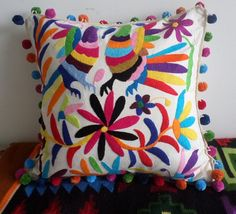 EL BESO (The kiss) Otomi pillow sham Multicolor Pomp pom Otomi Cushions - Cyber Monday - pillow shams - Pillow cases - Throw Pillow Mexican Colors, Mexican Art, Mexican Embroidery, Hand Embroidery, Mexican Museum, Pillow Shams, Pillow Cases, Diy Gifts, Decorative Pillows