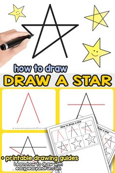 How to Draw a Star - A step by step star drawing tutorial that's super easy to follow and will have you drawing a perfect star in no time (directed drawing printable included)