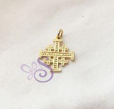 Yellow Gold GP 925 Sterling Silver Jerusalem Cross Pendant Israel Holyland 23mm #Pendant