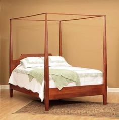 English Shaker Rustic Cherry Poster Canopy Bed | Amish Furniture | Solid Wood Mission Shaker Furniture | Chicago Area, Illinois