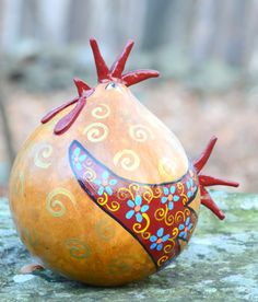 Kitchen Rooster Gourd Art Cranberry Wings Blue by Gourdament