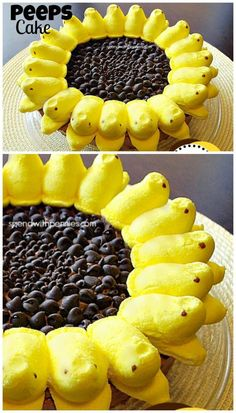 Adorable Peeps Sunflower cake in 15 minutes! So easy I made it for Easter. Peeps Recipes, Easter Recipes, Holiday Recipes, Cake Recipes, Dessert Recipes, Desserts Ostern, Köstliche Desserts, Delicious Desserts, Yummy Food