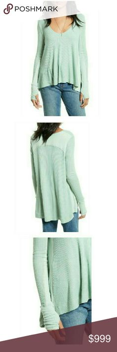 Free People  Malibu Thermal  Knit Shirt Coming soon. Arrival estimated as Monday Februaury 20th. Mint Green super soft thermal knit is updated w/ a swingy back panel that adds playful volume to the casual silhouette. Scooped neck long sleeves, Over Sized Design  NWT Free People Tops Tees - Long Sleeve
