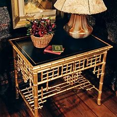 Rooms: Living Indian Cove Lodge Chinoiserie end table with bamboo form and bookbinder's leather insert, by Ralph Lauren. Chinese Chippendale Chairs, Chippendale Chairs, Chinoiserie Decorating, Asian Decor, Painted Furniture, Furniture, Faux Bamboo, Chinoiserie Chic, Bamboo Table