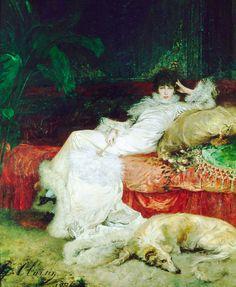 #Museumweek #ArteeModa Donne alla #moda rappresentate in quadri d'autore. Georges-Jules-Victor Clarins - Ritratto di Sarah Bernhardt #art #womanandart #illustration