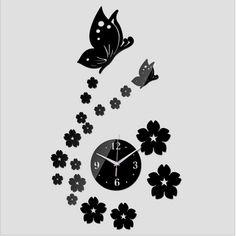 2017 new hot wall sticker home decoration diy acrylic mirror Butterfly wall clocks watch relojes de pared quartz needle modern  #Affiliate