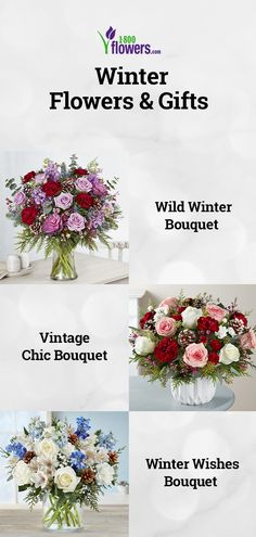 Shop winter flowers & plant gifts from to brighten even the coldest winter day. Send a winter bouquet delivery for the perfect winter gift! Winter Bouquet, Winter Flowers, Winter Day, Winter Season, Beautiful Flowers Images Hd, Flower Decorations, Table Decorations, Bouquet Delivery, Gift Bouquet