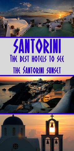 A look at the best hotels with sunset views in Santorini. Enjoy the sunset on the Greek island of Santorini from the best hotels with views! #Santorini #Greece