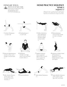 Iyengar Home Practice Sequence Level 1. See the following board for more sequences: http://www.pinterest.com/cowakazi/yoga-sequences/