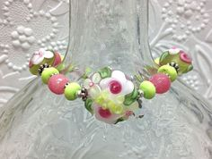 Lampwork and Gemstone Beaded Bracelet Country by thepinkmartini, $65.00
