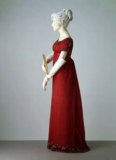 Evening dress, 1805-1810, owned by the Victoria and Albert Museum. A detail of this dress is pictured on the book jacket of the forthcoming THE ANNOTATED EMMA (March 20, 2012).