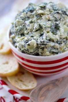This slow cooker spinach artichoke dip would be delicious paired with crackers or bread for an appetizer.