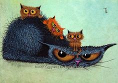 67 New Ideas Funny Cats Illustration Mornings Cool Cats, I Love Cats, Crazy Cats, Image Chat, Black Cat Art, Here Kitty Kitty, Cat Drawing, Dog Art, Cartoon Art