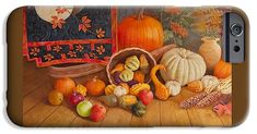 """IPhone 6s Case featuring the painting """"Harvest Bounty"""" by Nancy Lee Moran.  Impact-resistant, slim-profile, hard-shell case provides direct access to all of the phone's features. #pumpkin #apple #iPhone #autumn #FineArtAmerica"""