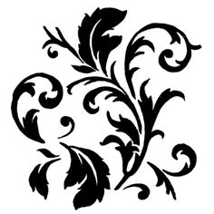 "Stencil Designs   Art Stencil Template - Swirly Leaves - 6"" x 6' Stencil"