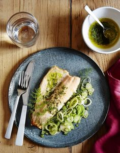 Trout fillets with sautéed fennel stalks and fronds