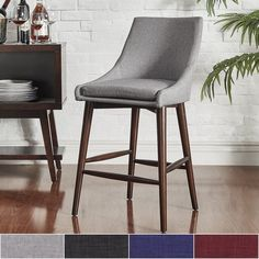 Sasha Espresso Barrel Back Counter Stools by MID-CENTURY LIVING (Set of 2) | Overstock.com Shopping - The Best Deals on Dining Chairs
