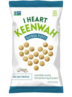 I Heart Keenwah makes quinoa snacks. We currently have two products on the  market. Our first line is quinoa clusters, which are crunchy little  bite-sized squares of goodness. we use light sweeteners to hold quinoa  seeds, puffs, and flakes together with simple nuts and fruits. Our second  line is quinoa puffs, which are airy little savory puffs. Both quinoa snack  products are all natural and gluten free. Perfect for an afternoon snack or  on the go.