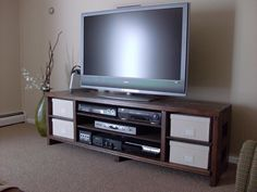 Come See how to make a simple rustic DIY TV Stand Or until I To build Sleek Console Plan for a Flat Screen TV Digital Plan