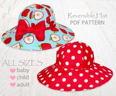 Looking for your next project? You're going to love Reversible sun hat - baby, child, adult by designer MyChildhoodTrea.