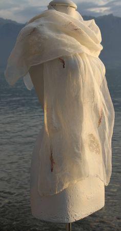 White felt shawl Shawl, Creations, Felt, Felting, Feltro, Veils, Paisley