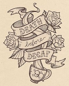 "Here's one for all of you coffee lovers out there. Urban Threads has posted this free embroidery design called ""Death Before Decaf""."
