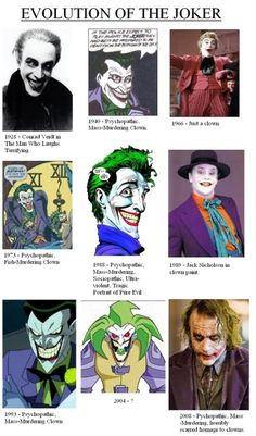 Evolution of The Joker - Jack Nicholson and Mark Hamill (voice) are the best Jokers of all time. Cesar Romero though will always be my FIRST joker! Joker Batman, I Am Batman, Joker Heath, Batman Stuff, Superman, Jack Nicholson, Comic Book Characters, Comic Books Art, Bruce Timm