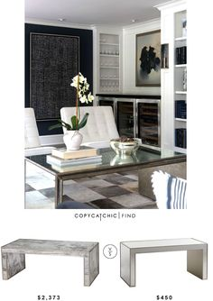 @WorldsAwayDecor Mirrored Parsons Coffee Table | $2,373 Vs @pier1imports Alexa Mirrored Coffee Table | $450