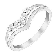 Symbolise your love with this stunning diamond eternity ring. Crafted from 9ct white gold, this pretty ring is set in a wishbone style v shape to sit alongside your engagement ring with ease. With central split detailing, this stunning ring is set with five shimmering diamonds for a sparkling look sure to take her breath away.